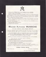 HAL HALLE Anne DEPAUW épouse MUSSCHE Alphonse  1844-1927 Familles VANHAM LECLEF COLLON BUISSERET - Décès