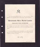 ROULERS LOUVAIN DE MEESTER Maria Mère Marie-Louise 1857-1928 Chanoinesses-missionnaires De Saint Augustin Zuster - Décès