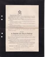 GOEGNIES-CHAUSSEE MONS Sylvie RECQ De MALZINE Veuve RECQ De PAMBROYE 1832-1909 De RARIGUES - Décès