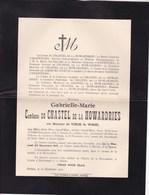 Château De LANNOY HOLLAIN Gabrielle De VINCK De WESEL Comtesse Du CHASTEL De La HOWARDRIES 1836-1910 - Décès