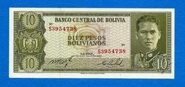 N. 1 Banconota Da 10   PESOS  BOLIVIANOS  -  BANCO  CENTRAL DE   BOLIVIA  -  Anno 1962. - Bolivia