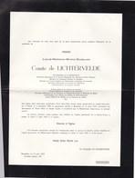 VIENNE BRUXELLES Louis Comte De LICHTERVELDE 1889-1959 BRUFINA Secrétaire Conseil Des Ministres En 2 Volets Complets - Décès