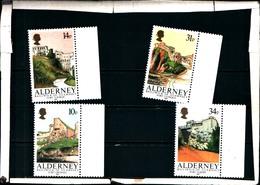 92280) LOTTO DI FRANCOBOLLI DI Alderney 1986 Mi. 28-31 Nuovo ** 100% Fortezze - Alderney