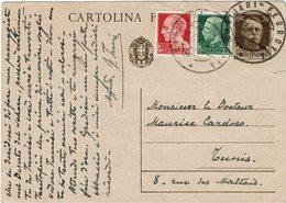 LCTN59/LE/5 - ITALIE EP CP TARIF ETRANGER CAGLIARI / TUNIS 23/3/1940 - 1900-44 Victor Emmanuel III