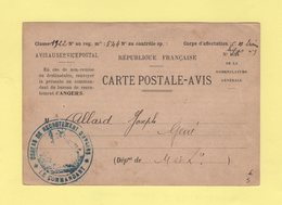 Bureau De Recrutement D Angers - Carte Postale Avis - 1922 - Guerra De 1914-18