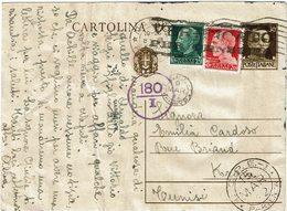 LCTN59/LE/5 - ITALIE EP CP TARIF ETRANGER NAPOLI / TUNIS MARS 1942 CENSURE TEXTE PARTIELLEMENT CAVIARDE - 1900-44 Victor Emmanuel III
