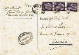 LCTN59/LE/5 - ITALIE CP GENOVA / TUNIS 25/7/1945 CENSURA ESTERA - 1 TPM ABÎME - 1944-46 Lieutenance & Humbert II