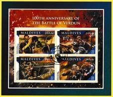 Bloc Feuillet Oblitéré De 4 Timbres-poste - 100e Anniversaire De La Bataille De Verdun - Maldives 2016 - Maldives (1965-...)