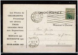 LCTN59/LE/5 - FRANCE ORPHELINS 2° SERIE 2c1/2 SUR 5+5c - CARTE PUBLICITAIRE CHLORAMINE PARIS/TUNIS 22/5/1925 - Marcophilie (Lettres)
