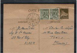 LCTN59/LE/5 - ALGERIE EP CP ALGER / TUNIS 15/3/1944 DAGUIN PUBLICITAIRE - Algeria (1924-1962)