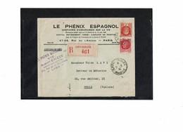 LCTN59/LE/5 - FRANCE LETTRE RECOMMANDEE LYON / TUNIS 31/3/1932 - Marcophilie (Lettres)