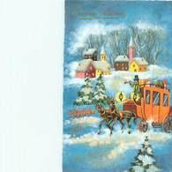 Bonne Année - Paysage Attelage Paillettes   H 819 - Año Nuevo