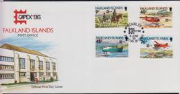 FALKLAND ISLANDS - 1976 - CAPEX / TRANSPORT  SET OF 4 ON  ILLUSTRATED COVER - Falkland Islands
