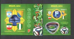 ST2925 2014 GUINE GUINEA-BISSAU SPORT FOOTBALL WORLD CUP BRAZIL GROUP F KB+BL MNH - Coppa Del Mondo
