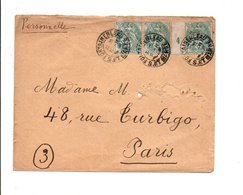 AFFRANCHISSEMENT COMPOSE DE BLANC SUR LETTRE DE FONTAINEBLEAU SEINE ET MARNE 1904 - Marcophilie (Lettres)