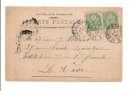 AFFRANCHISSEMENT COMPOSE DE BLANC SUR CARTE - AMBULANT DE LE HAVRE A PARIS B 1901 - Storia Postale