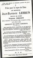 Souvenir Mortuaire LEBRUN Jean-Baptiste (1845-1926) Né à BAILLEUL Mort à PECQ - Images Religieuses