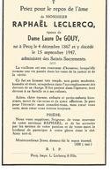 Souvenir Mortuaire LECLERCQ Raphaël (1867-1947) Né Et Mort à PECQ - Images Religieuses