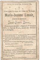 Souvenir Mortuaire LENOIR Marie-Jeanne (1815-1871) ép. LENOIR, D. Morte à HERVE - Devotion Images
