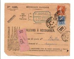 AFFRANCHISSEMENT COMPOSE SUR AVIS DE SABLE SUR SARTHE 1934 - Marcophilie (Lettres)