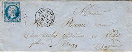 1861-enveloppe De NANT-D'AVEYRON ( Aveyron ) Cad T15 Affr. N°14 Oblit. P C 2219 - Marcophilie (Lettres)