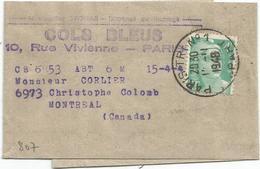 GANDON 4FR EMERAUDE SEUL PETITE BANDE PARIS 12.11.1948 POUR LE  CANADA AU TARIF - Storia Postale
