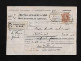 HEIMAT JURA → 1902 R-Internes Einzugsmandat (Delémont Transit No.388)   ►SBK-68E / 4.VIII.02◄ - 1882-1906 Wapenschilden, Staande Helvetia & UPU