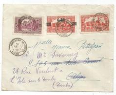 ALGERIE 25CX2+50C LETTRE C. PERLE FONTAINE DU GENIE 15.6.1939 ALGER POURLE DOUBS - Algerien (1924-1962)