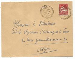 ALGERIE 50C FACTEUR BOITIER EL ACHOUR 28.5.1934 ALGER LETTRE - Algerien (1924-1962)