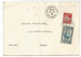 ALGERIE 50C+1FR75 LETTRE C. PERLE COL DES OLIVIERS 15.5.1939 CONSTANTINE POUR SUISSE - Algerien (1924-1962)