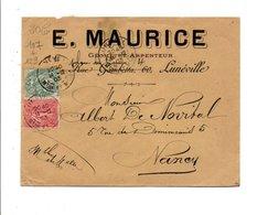 AFFRANCHISSEMENT COMPOSE SUR LETTRE A EN TETE DE LUNEVILLE MEURTHE ET MOSELLE 1903 - Storia Postale