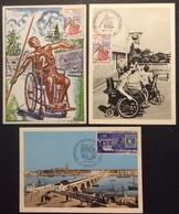 CM0672 Jeux Mondiaux Handicapés Physiques1649 Decaris Émission Bordeaux 1659  Premier Jour Lot 3 Carte Maximum - Cartes-Maximum
