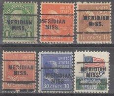 USA Precancel Vorausentwertung Preo, Locals Mississippi, Meridan 703, 6 Diff. Perf. 11x10 1/2 - Vereinigte Staaten