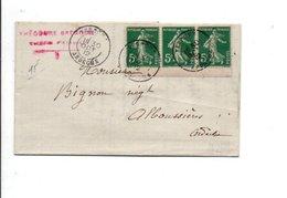 AFFRANCHISSEMENT COMPOSE DE SEMEUSE SUR PLI DE VERNOUX ARDECHE 1912 - Marcophilie (Lettres)
