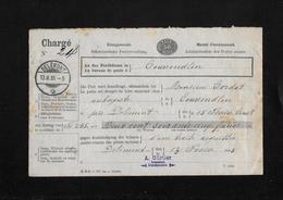 HEIMAT JURA → 1885 Mandat D'encaissement No.24 Delémont Au Bureau De Poste à Courrendlin - 1882-1906 Coat Of Arms, Standing Helvetia & UPU
