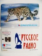 Chip Phone Card From Kyrgyzstan Animal Snow Leopard Panthera Russkoje Russian Radio Music - Kirghizistan