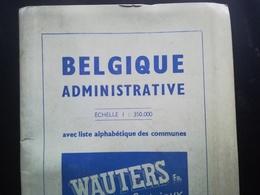 VIEILLE CARTE BELGIQUE ADMINISTRATIVE COMMUNES INDEX  HAMEAUX CHEMIN DE FER TRAMWAY VICINAL BRABANT WALLON BRABANT FLAMA - Karten