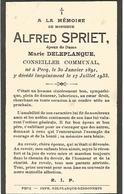 Souvenir Mortuaire SPRIET Alfred (1891-1933) Né Et Mort à PECQ – Conseiller Communal - Images Religieuses