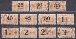 1924 Spoorwegzegels 25 Cent T/m 3 Gulden Geel Nederlandsche Spoorwegen 11 Stuks Gestempeld - Chemins De Fer
