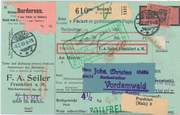 Perfin 1909 F.A.Seiler Frankfurt Main Blücher-Strasse Paketkarte Vordemwald Aargau über Basel 80 Pfg Friedensausgabe - Alemania