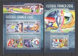 ST859 2016 GUINE GUINEA-BISSAU SPORTS FRENCH FOOTBALL 1KB+1BL MNH - Voetbal