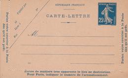 Carte Lettre Semeuse Camée 25 C Lilas Bleu J1 Neuve - Letter Cards
