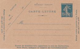Carte Lettre Semeuse Camée 25 C Lilas Bleu J1a Neuve - Letter Cards