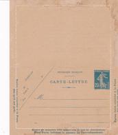 Carte Lettre Semeuse Camée 25 C Lilas Bleu J1a Neuve Repiquage Bureau D'assistance Judiciaire - Letter Cards