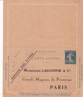 Carte Lettre Semeuse Camée 25 C Lilas Bleu J1a Neuve Repiquage Laguionie - Letter Cards