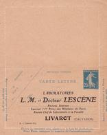 Carte Lettre Semeuse Camée 25 C Lilas Bleu J1a Neuve Repiquage Lescene - Letter Cards
