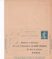 Carte Lettre Semeuse Camée 25 C Lilas Bleu J1 Neuve Repiquage Le Nord Incendie - Letter Cards
