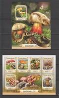 ST884 2016 GUINE GUINEA-BISSAU PLANTS MUSHROOMS 1KB+1BL MNH - Mushrooms