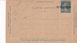 Carte Lettre Semeuse Camée 25 C Lilas Bleu J5 Neuve Specimen - Letter Cards