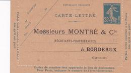 Carte Lettre Semeuse Camée 25 C Lilas Bleu J1a Neuve Repiquage Montré - Letter Cards
